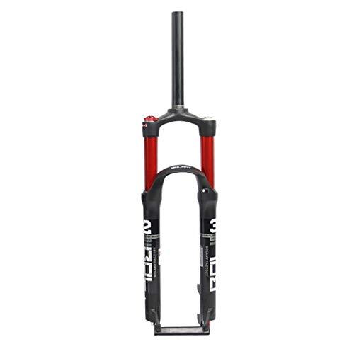 Unbekannt Fahrrad Federgabel 26 27,5 29 Federweg 120mm Pneumatisches System mit PM Scheibenbremssäule und Bremsleitung Befestigungsschnalle - Schwarz Rot (Color : A, Size : 29inch) -