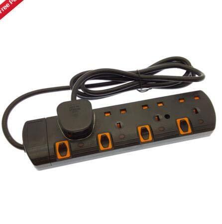 Yudanny Verlängerungskabel mit Schutzkontakt, 2 m, 4/5 / 6 Wege, UK-Stecker 5-Outlet Schwarz - Outlet Laptop-Überspannungsschutz