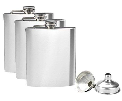 Tebery 3 x Edelstahl Flachmann und Trichter Set, 8 oz. 227ml, Silber