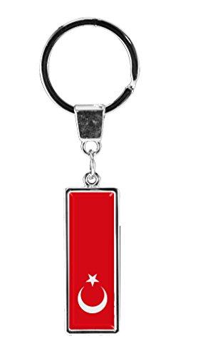 """Preisvergleich Produktbild Premium Schlüsselanhänger in gerader Form """"Flagge Türkei"""""""