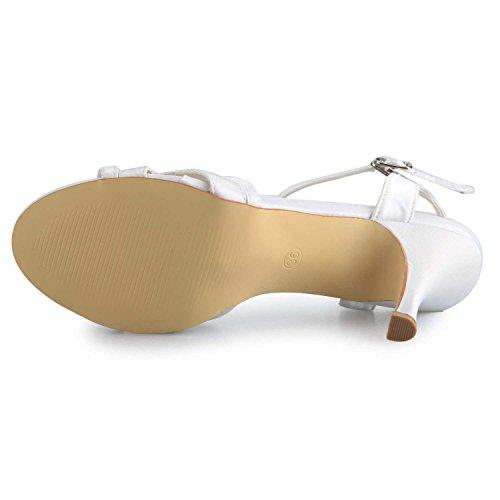 JIA JIA Scarpe da Sposa da Donna 1419 Open Toe Mid Heel Sandali Satinati Strass Scarpe da Sposa Bianco