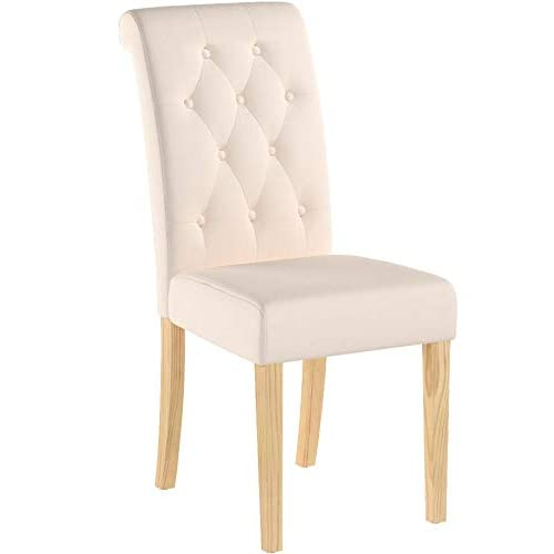 The Home Garden Store Set of 6 Premium Linen Fabric Dining Chairs Scroll High Back Cream