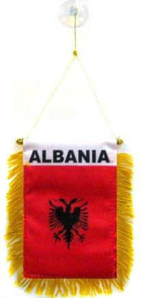 AZ FLAG Fanion Albanie 15x10cm - Mini Drapeau albanais 10 x 15 cm spécial Voiture - Bannière