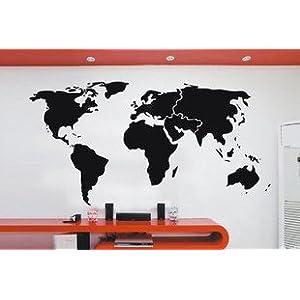 Vinilo decorativo pegatina pared, cristal, puerta (Varios colores a elegir)-mapa mundial