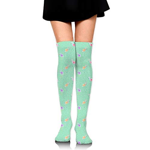 BigHappyShop Knee High Socks Indy Bloom Flamingo Dot Teal 25.6 Inchs(65cm) Compression Sock Stockings For Women Girls Teal Snowboard-boots