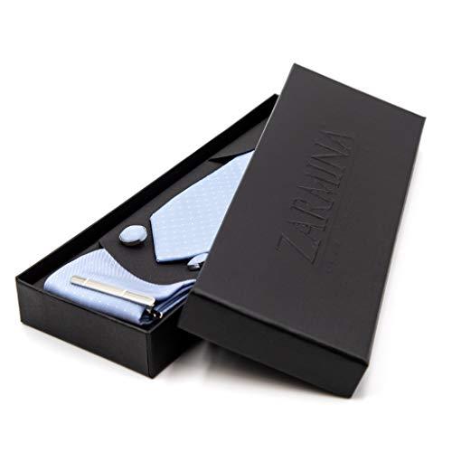 ZARMINA® | Herren Premium Krawatten-Set | inkl. Krawatte + Einstecktuch + Manschettenknöpfe + Krawattennadel in einer eleganten Geschenkbox (Hellblau)