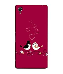 Fuson Designer Back Case Cover for Sony Xperia X :: Sony Xperia X Dual F5122 (Birds leaves heart Red images cupid)