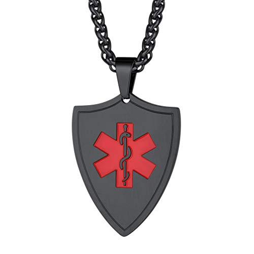 PROSTEEL Medical Alert Halskette für Allergie Diabetes schwarz Edelstahl Schild Anhänger SOS Notfall Schmuck Accessoire mit 55+5cm Weizenkette