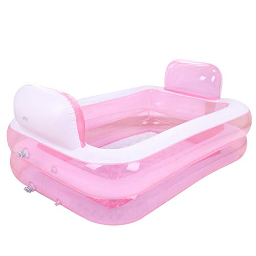Aufblasbarer pool ZHAOSHUNLI Aufblasbare Badewanne Kunststoff Falten Verdickung Erwachsene Kinder Baden Bubble Bottom Bequemes Rosa