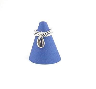 Bague argent 925 - double rang de perles et pendentif coquillage cauri