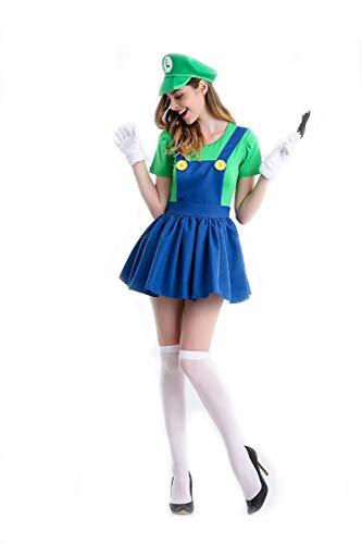 Damen Mario Rock Overalls Super Klempner Bros Cosplay Kostüm Halloween Verrücktes Kleid Kleidung mit Hut Bart Handschuhe