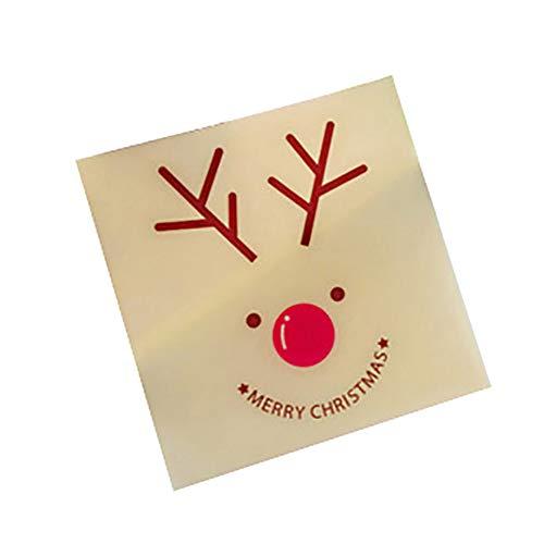 Ruby569y 100 Stück Keksbeutel, Keksbeutel, Süßigkeitentüte, Selbstklebende Süßigkeitentüte, Weihnachtsmann, Schneemann, Geschenk, Keksbeutel, Dekoration
