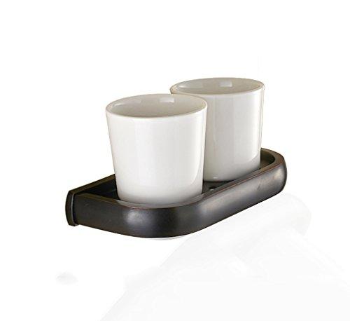 Xzi Brosse à Dents Titulaire de la Tasse Noire Bronze Double Porte-Tasse Double Tasse européenne Style rétro 19,6 * 9,9 * 10,7 cm A+