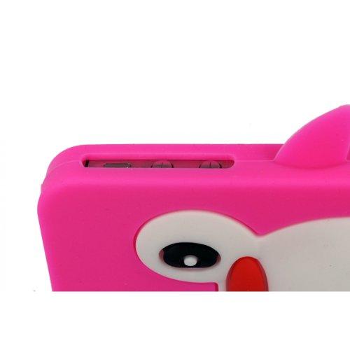 OBiDi - 3D Manchot Coque en Silicone / Housse pour Apple iPhone 4S / Apple iPhone 4 - Blanc avec 3 Film de Protection et Stylet Hot Pink