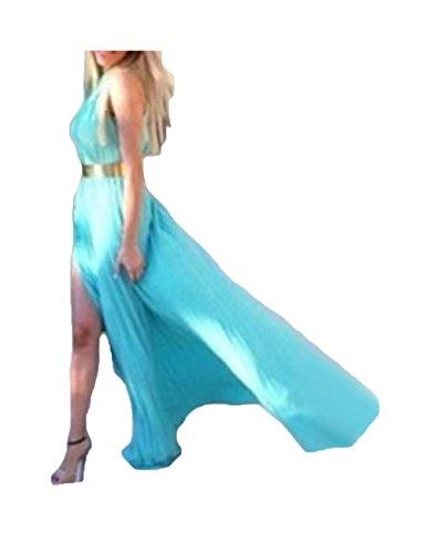 Robe longue de soirée en mousseline Bleu