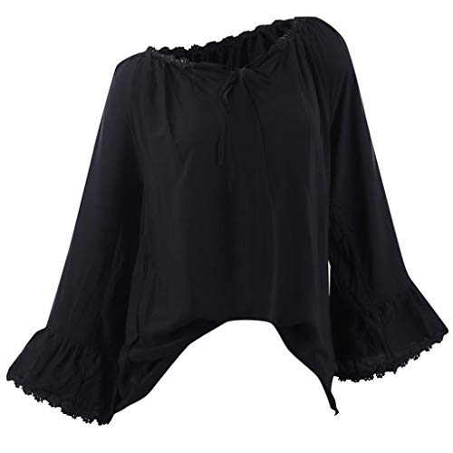 YU'TING‿ Maglietta a Maniche Lunghe Donna Donne Casuali Manica Lunga Pulsante con Scollo V Arredamento Camicie T-Shirt Blusa