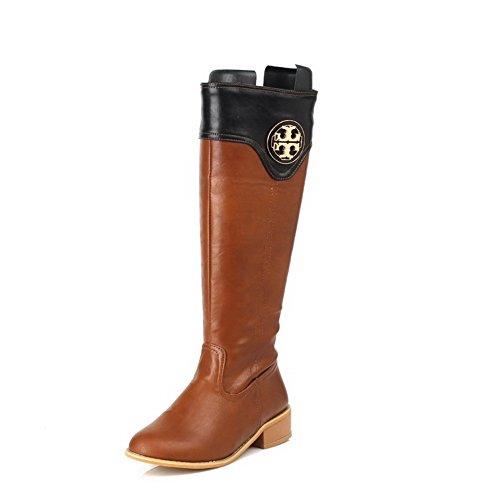 AgooLar Damen Gemischte Farbe Niedriger Absatz Rund Zehe Stiefel mit Metallisch, Gelb, 37