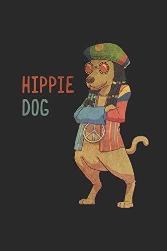 Hippie Dog: Notizbuch A5 I Tagebuch I 120 Seiten I Creme Farbig I Kariert I Kladde für Hundebesitzer die ihre Hunde lieben I Hippie Dog -