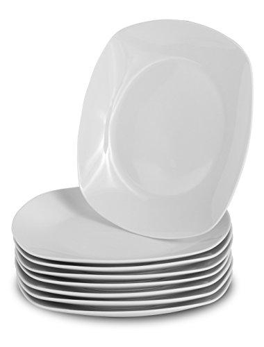 klikel 8weiß rund Abendessen Teller-Classic Solid Maurerkelle Coupe Stil Porzellan Geschirr, porzellan, Square Dinner Plates Square Dinner Plate
