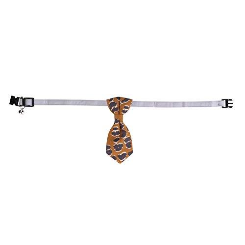 HEEPDD Haustier Kragen Bowtie, modische Leopardenmuster Katze Hunde Halsband Fliege Bowknot Umhängeband Haustiere Hochzeit Dekor Zubehör für Katzen Welpen Kitty Kätzchen Birthday Party Outfit(Gelb S)