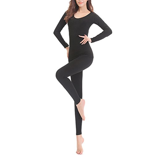 Zhhlaixing Frau Winter Soft Cotton Round Neck Warm Thermal Underwear Set Lines Shirt and Pants Black