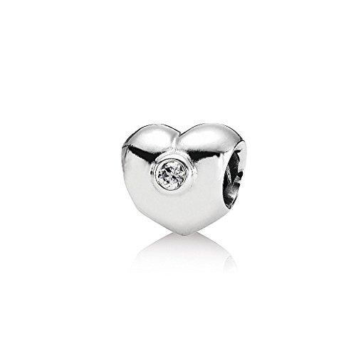 Akki beads & charms con bianche pietre strass zirconia cubica argento in acciaio inox, compatibile anche con pandora beads bracciali, collana donna gioielli classico semplice starter set motivi elementi e acciaio inossidabile, colore: silber #46, cod. akc-004-288-046