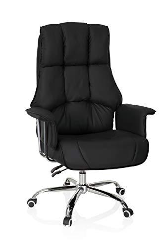 hjh OFFICE 706814 XXL Chefsessel Commander Kunstleder Schwarz Bürosessel dick gepolstert, Liegefunktion, hohe Rückenlehne