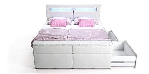 Boxspringbett mit Bettkasten Schubkasten weiß Sofia LED Beleuchtung Doppelbett Hotelbett Taschenfederkern Topper (180x200cm)