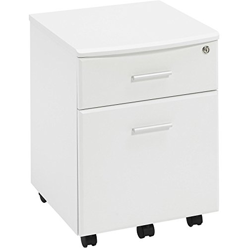 Two Drawer Lockable A4 Suspension Filing Pedestal Cabinet Cupboard Matching Piranha White Woodgrain Desks and Home Office Furniture - Blenny PC 10s