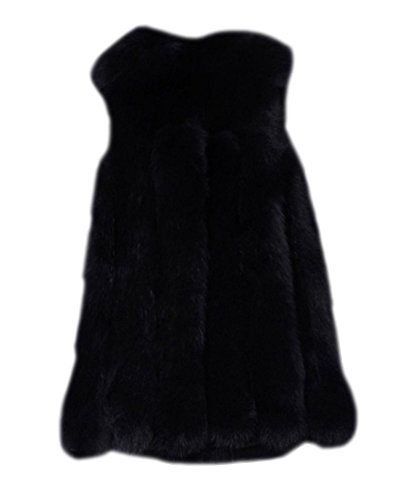Donna Parka Gilet Invernale Cappotto Di Falso Pelliccia Senza Maniche Giacchetto Giubbotto Cardigan Giacca Nero