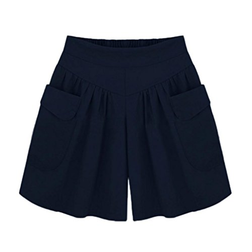 UFACE Damen Volltonfarbe Breites Bein Shorts Plus Größe Solide Lose Hot Pants Taschen Lady Sommer Casual Shorts(Marine,3XL(44))