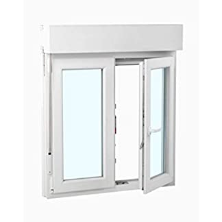 Ventana PVC 100 cm x 120 cm | 2 hojas | Oscilobatiente | Alto aislamiento termico y acustico | Vidrio doble hoja Climalit | Abatible | Con persiana