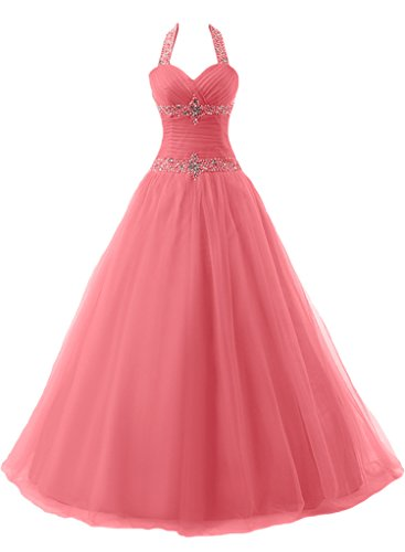 Sunvary Ball Gown Halter cristalli arricciatura Prom Quinceanera Gowns Watermelon 38