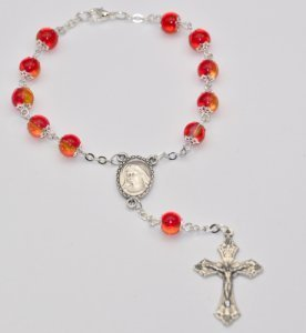 One Decade Glas Rosenkranz Perlen.-mit Lourdes Gebet Karte ()