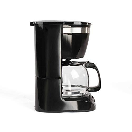 Kaffeemaschine Schwarz mit Glaskanne für 12 Tassen Warmhaltefunktion (Kaffeeautomat, Kaffeelöffel, Automatische Abschaltung, Wasserstandsanzeige)