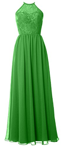 MACloth Women Halter Long Bridesmaid Dress 2017 Lace Wedding Party Formal Gown Green