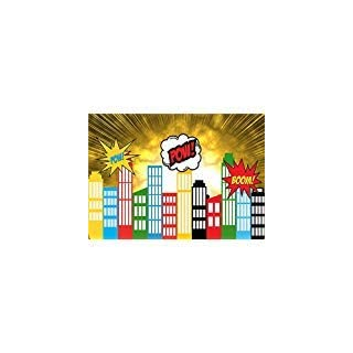 Daniu Foto Stützen Hintergrund Superheld Stadt Cartoon Vinyl Baby Backdrops für Studio 7x5FT 210cm x 150cm Daniu-sc016