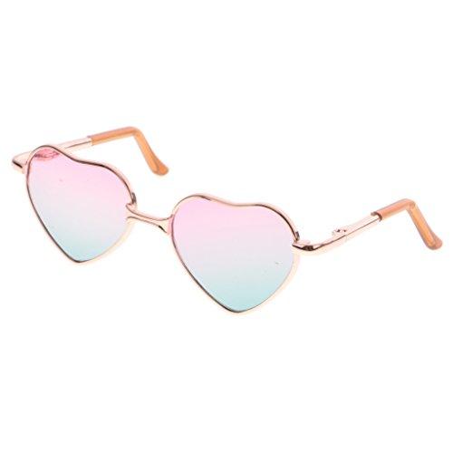 MagiDeal Fashion Puppen Brille Sonnenbrille mit Herz Rahmen für 1/6 Blythe Puppen - Goldrahmen + Rosa Grün Objektiv
