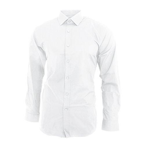 Brook Taverner Pisa - Camicia Classica Modello Aderente - Uomo Bianco