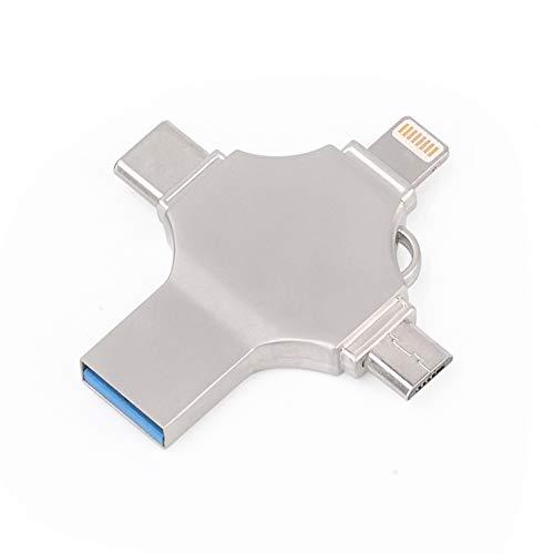 LCL 4-in-1 Memory Sticks, USB-Stick, eine stabile Lagerung, Datensicherung, für Android und iOS 8.0 oder höher, PC,64G