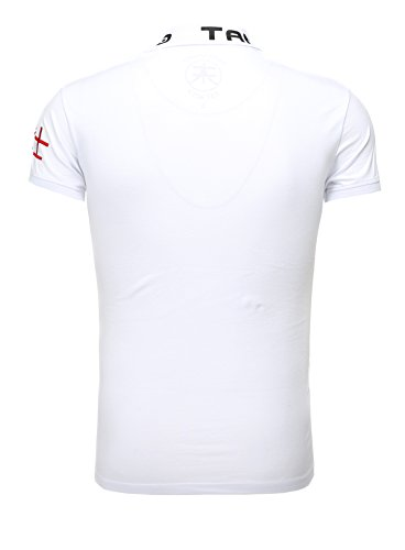 Akito Tanaka Herren Poloshirt The Last Samurai mit Knöpfe Stickerei Slim Fit Logo Kurzarm Männer Weiß