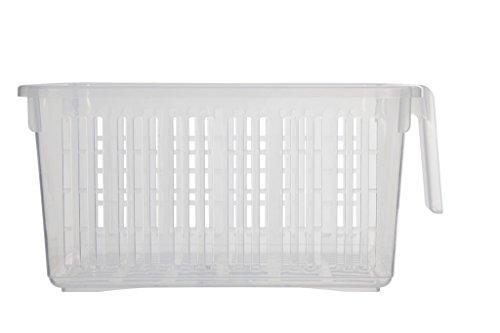 Whitefurze - Ceste per armadietti Caddy, con impugnature, colore: Trasparenti (Confezione da 6)