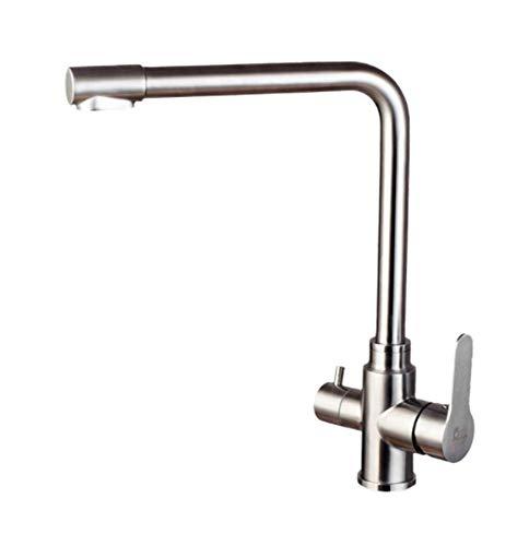 Wasserhahn Badarmaturen Küchenarmatur Waschtischarmatur Mit Zugstangestahlküchen-Reiner Wasserspender Gerade Trinkwasser Heißer Und Kalter Doppelter Auslass-Hahnⅰ18752