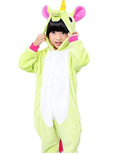 Hot unisex costume carnevale bimbi bambini unicorno stitch gufo zebra giraffa mucca halloween festa party pigiama animali kigurumi cosplay zoo onesies tuta (xxs/altezza 95-105cm, unicorn verde 2)
