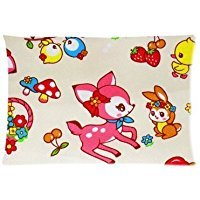Houseware ART Fox Rabbit Owl Mushroom Strawberry 100% Cotton Pillowcase Standard 16x24 (one side) Pillow Cover (Frances Fox)