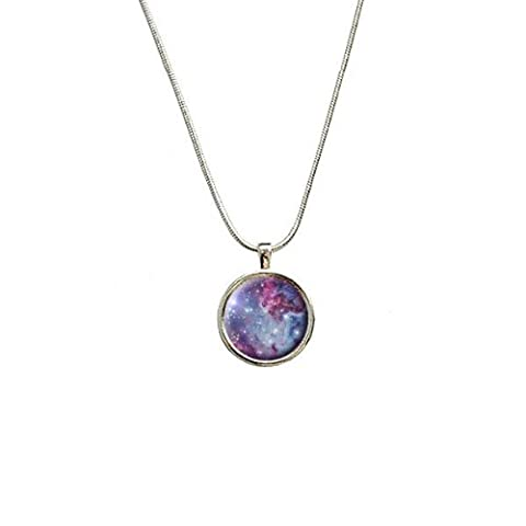 Fox Fur Nebula - Galaxy Space Pendant with Sterling Silver Plated Chain