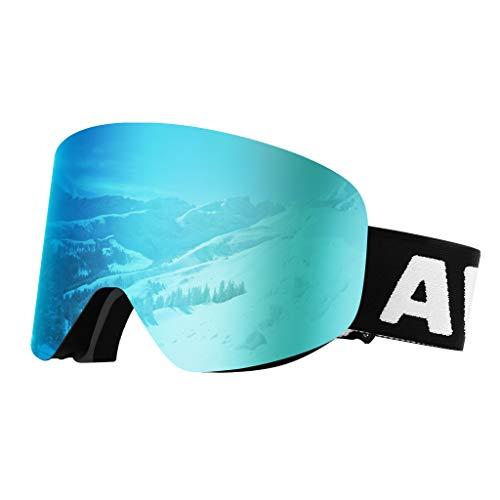 Awenia Skibrille Damen Herren Brillenträger Snowboardbrille, Anti Nebel OTG UV Schutz, Zylindrische Verspiegelte Linse, Rahmenlos und wechselbar Eisblau VLT 11{7e0d2d300405d31dcdc0a3e79f1d192d934c51cf04fea0a47e266d7ed81708e9}