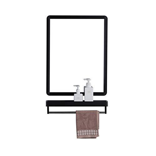 ZXPzZ-Desktop-Spiegel Wandspiegel Rechteck Top Metall Regal Spiegel Rechteck Metallrahmen Wandspiegel Mit Regal (Farbe : Schwarz, größe : XL)