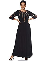 Label RITU KUMAR Round Neck 3/4 Sleeves Long Dress with Camisole