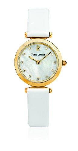 Pierre Lannier - 031L590 - Elegance Style - Montre Femme - Quartz Analogique - Cadran Nacre - Bracelet Cuir Blanc